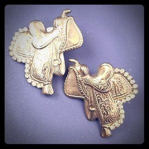 Earrings Pierced Rhinestone Horse Saddles nwOt